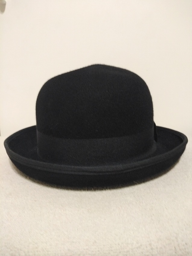Clean Fur Felt Bowler Hat with a Dent In the Crown - Repair by JK Millinery